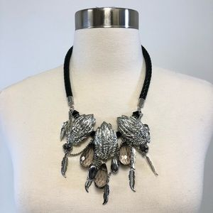 Jewelry - Feather Embellished Necklace Silver Faux Leather